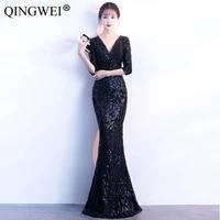 2019 new womens summer floor length party dresses ladies sexy slim half sleeve sequined gem beading v neck long dresses s 2xl