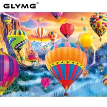 GLymg 5D Diy Diamond Painting Full Drill Hot Air Balloon Scenery Rhinestones Embroidery Paint With Diamonds Wall Sticker Decor