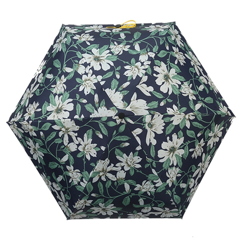 Gran oferta Mini paraguas de bolsillo resistente al viento y duradero 5 paraguas plegable cabeza plana portátil paraguas con protección UV lirio Prin