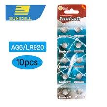 Щелочные батареи для часов, 10 шт., AG6, 371, SR920SW, LR920, SR927, 171, 370, L921, LR69, SR920, 1,5 кнопки