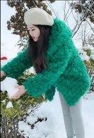 womens hooded autumn and winter green fake fur overcoats female korean warm man made fur outwear elegant warm fur jackets k1110