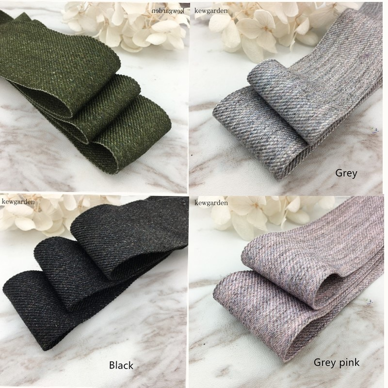 Kewgarden 40mm 4cm Thick Soft Woolen Cloth Satin Ribbons Handmade Tape DIY Bowknot Ribbon Garment Accessories Packing Riband 4m