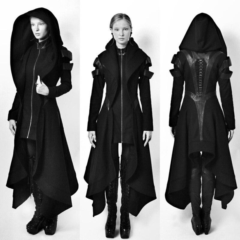 Legal feminino cosplay casaco irregular com capuz retalhos de couro topos cosplay avant longo casaco gótico ninja herói roupas quente sexy bla