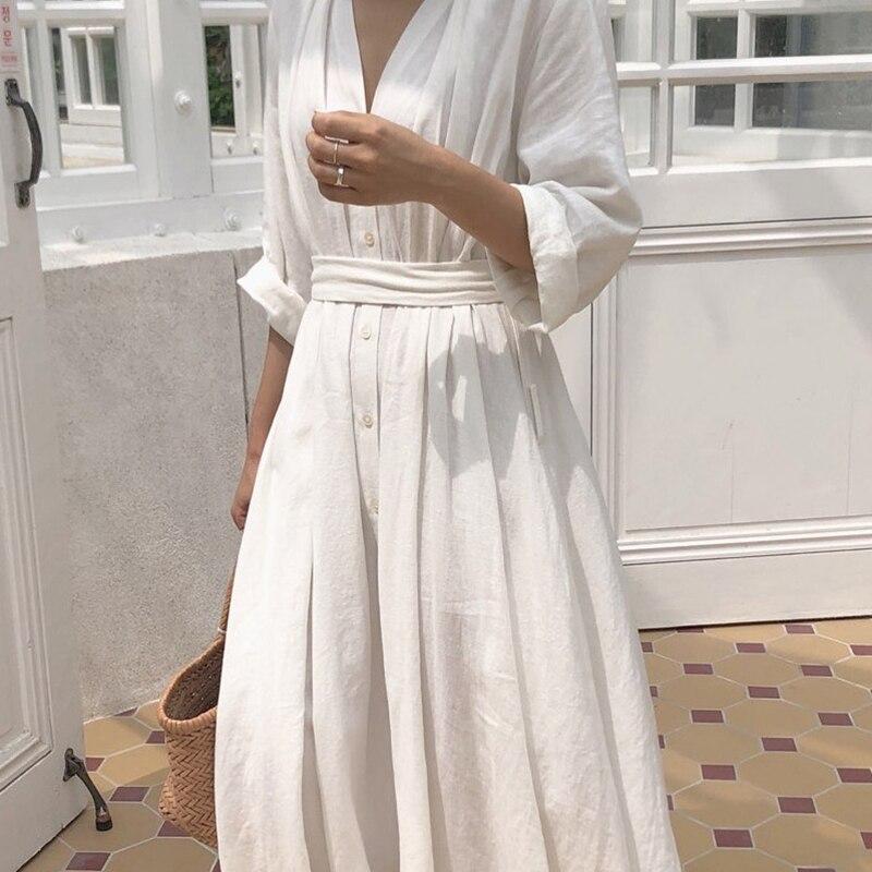 Coreano feminino casual vestido sólido tornozelo-comprimento vestido de festa outono vestidos roupas bonito escritório senhora dobra cinto solto vestido