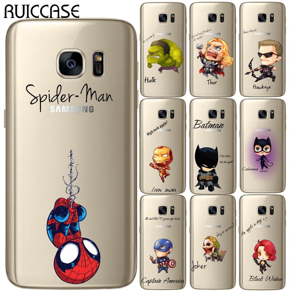 Los Vengadores héroes de Marvel suave TPU caso para Coque Samsung Galaxy S5 Mini S6 S7 borde S8 S9 S10 Plus E nota 3, 4, 5, 8 9 funda trasera del teléfono