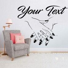 Autocollant en vinyle Logo personnalisé manucure   Étiquette murale pour Salon de manucure, autocollant mural personnalisé pour votre citation de texte, décor artistique LC1189