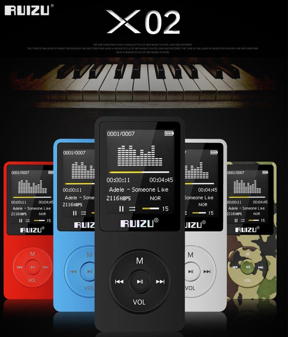 100% versión original en inglés RUIZU X02 MP3 jugador 4G/8G/16G portátil Mp3 puede jugar 80 horas con Radio FM e-book reloj voz
