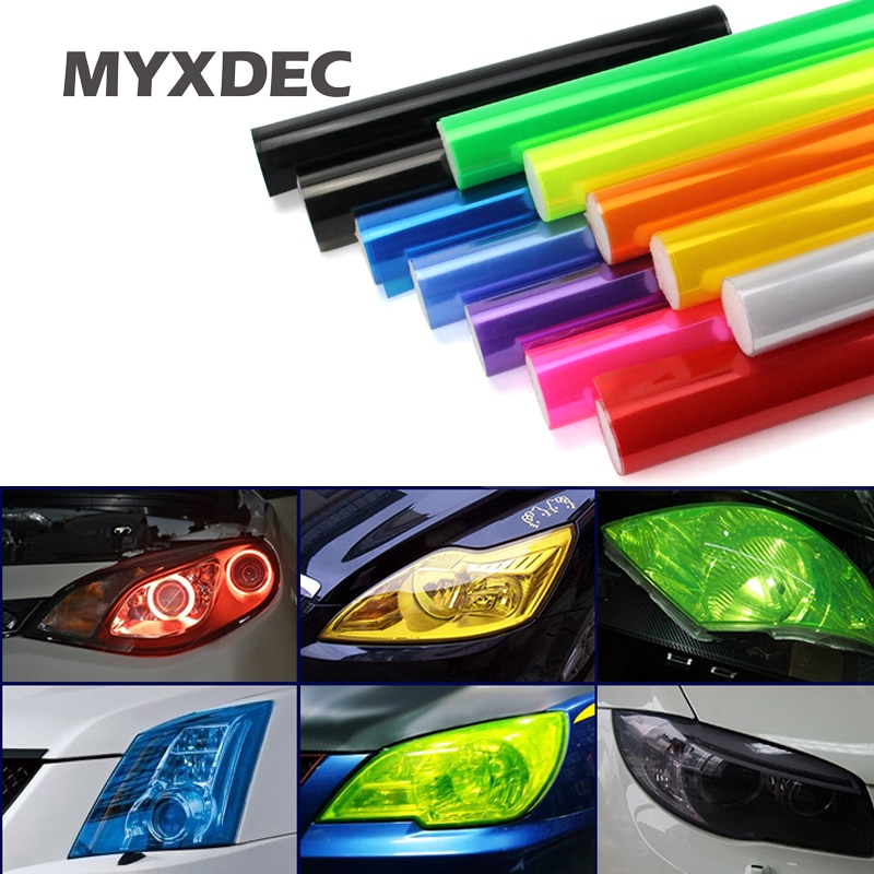 30cmx1m 12''x40'' Auto Car Light Headlight Taillight Tint Vinyl Film Sticker Easy Stick Motorcycle Whole Car Decoration 12 Colors
