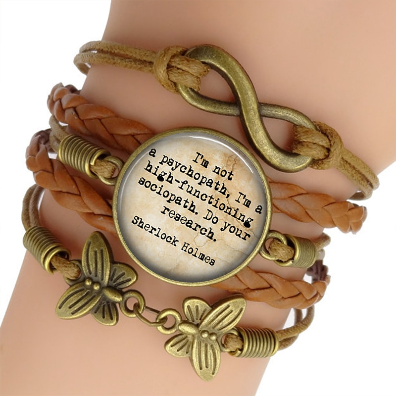 Sherlock Holmes Charm Bracelet Glass Cabochon Jewelry Vintage Multilayer Leather Bracelets for Women Men Gift