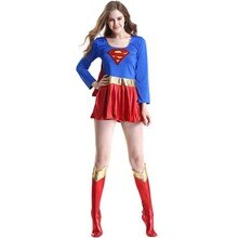 Erwachsene Supergirl Cosplay Kostüm Super Frau Superhero Sexy Phantasie Stiefel Kleid Halloween Superman Partei Cos Kostüme Dropshipping