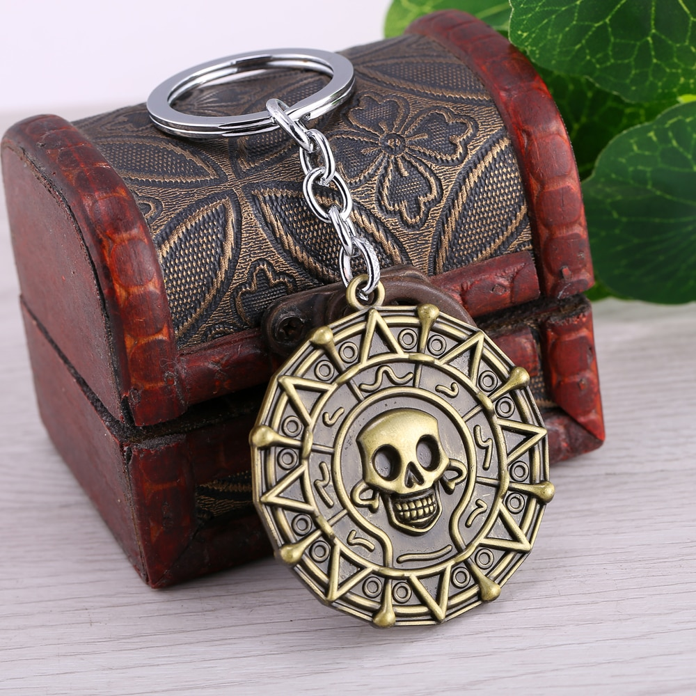 MS JEWELS Movie Jewelry Gifts Pirates Of The Caribbean 2 Colors Keychain Metal Key Rings Chaveiro Key Chain Jewelry Dropshipping