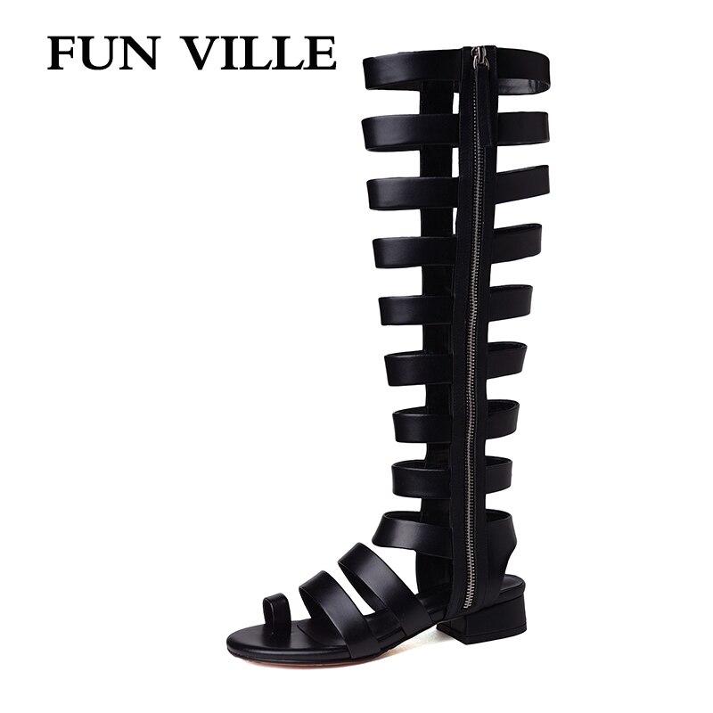 FUN VILLE 2019 nueva moda de verano botas de media pantorrilla de alta calidad de cuero genuino botas altas sandalias femeninas sexis peep toe
