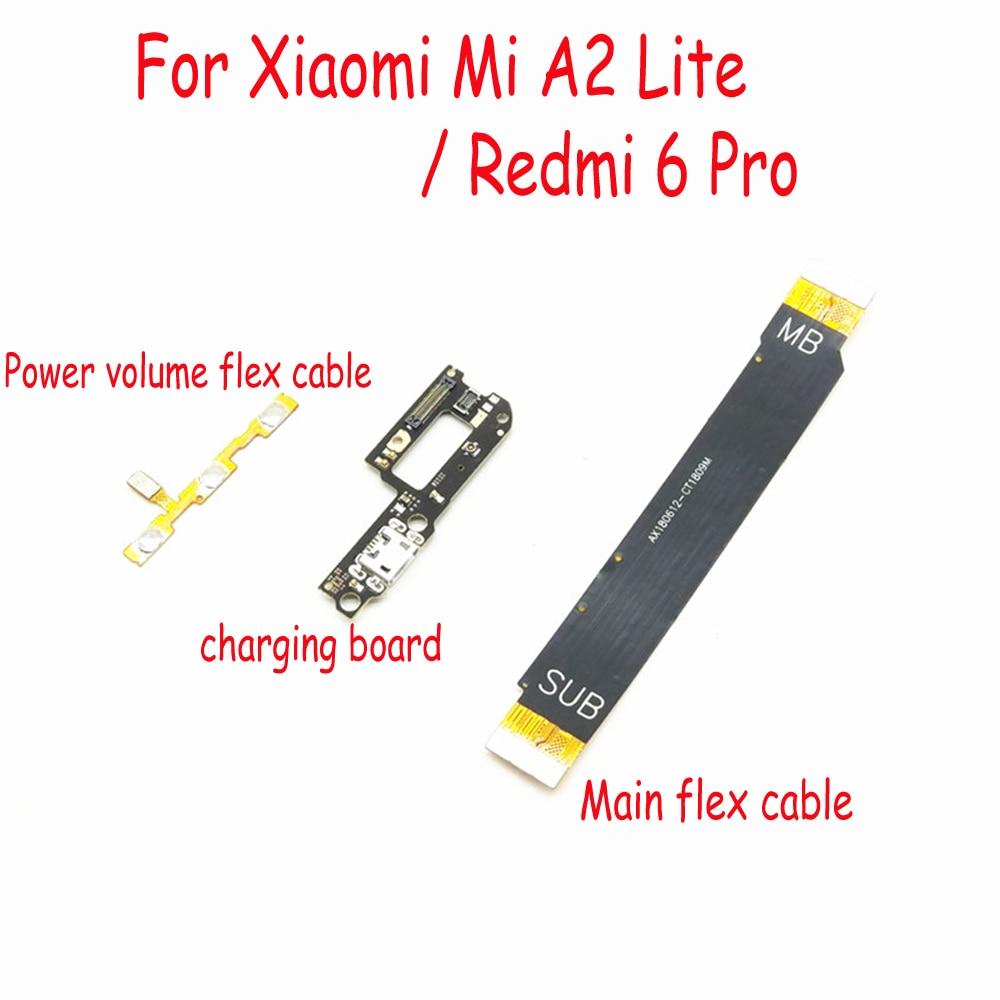 Volumen de alimentación y puerto de carga USB Cable flexible y placa base Cable flexible de conexión para Xiaomi Redmi 6 Pro mi A2 Lite