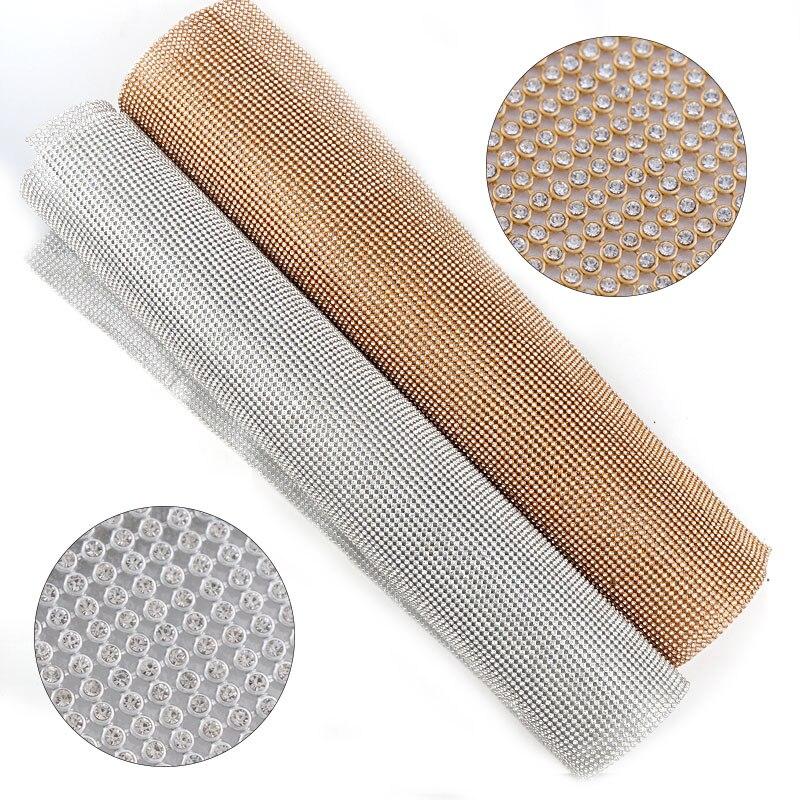 1 Pc 3mm Glas Strass + Gold/Silber Aluminium Strass Mesh Trim ABS Kunststoff HotFix Für DIY Hochzeit kleid Schmuck