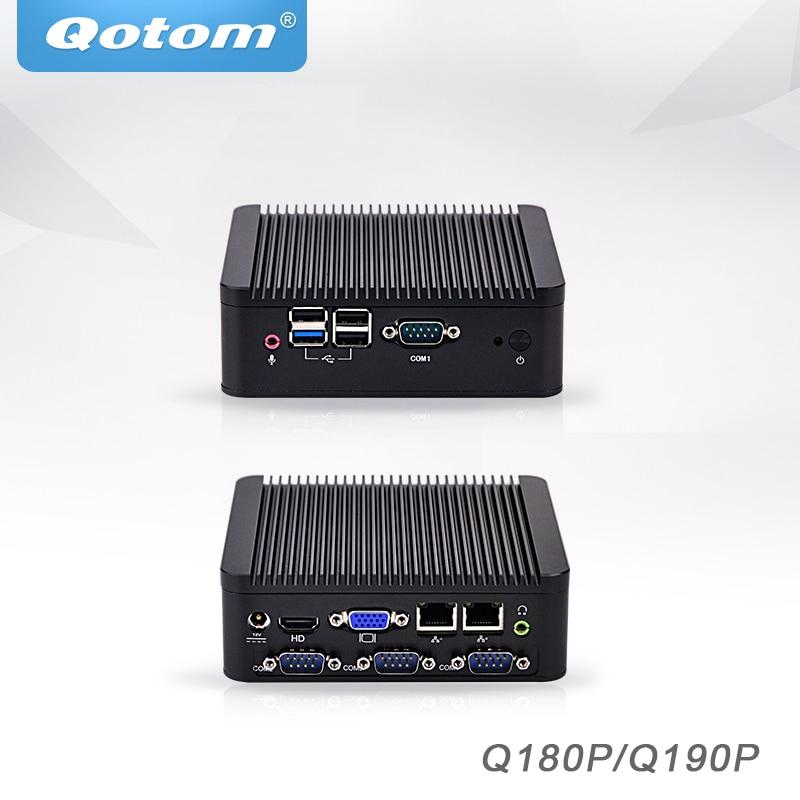 Qotom Mini PC Baytrail j1800 j1900 4 COM Industrial micro pc 2 ethernet x86 pfsense sin ventilador de escritorio Industrial Mini computadora