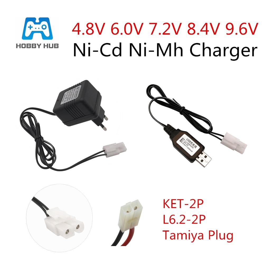 Cargador de 4,8 V 6,0 V 7,2 V 8,4 V 9,6 V para entrada de batería NiCd NiMH 100 V-240 V con cargador de enchufe Tamiya Kep-2p para juguetes RC 7,2 V