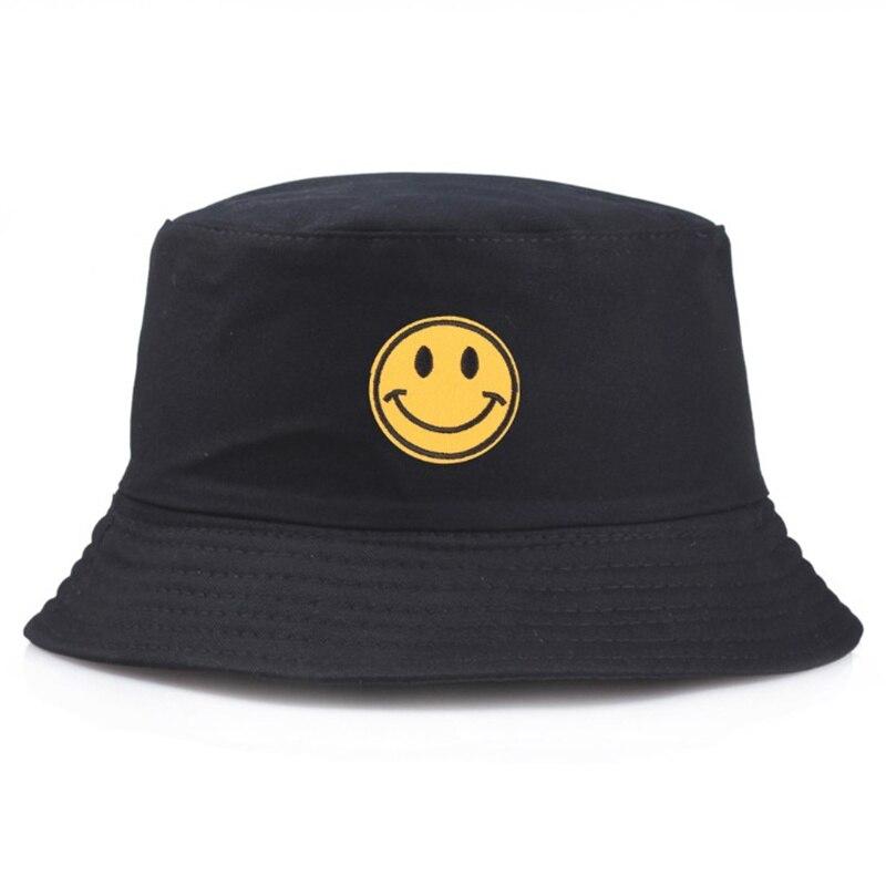 New Flat Happy face Black Bucket Hat Summer Vintage Fisher Hat Men Women Hip Hop Fishing Cap Sprots Chapeau Panama Sun hat