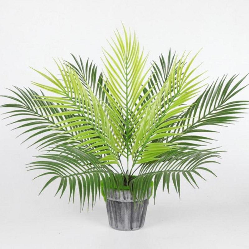 Plantas artificiales grandes, hojas verdes de Cycas, decoración para el hogar, 1 ramo de plantas de césped Artificial de decoración de otoño