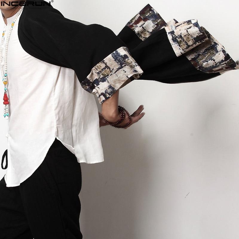 2021 Plus Size Men Fashion Long Outwear Shirts Chinese Style Vintage Half Sleeve Irregular Male Trench Stylish Casual Cloak Coat