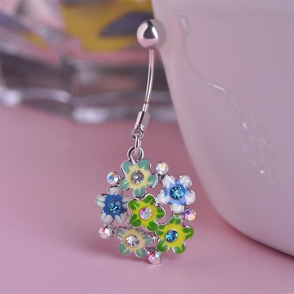 Anillos para Piercing de ombligo de flores de cristal Colar Enemal