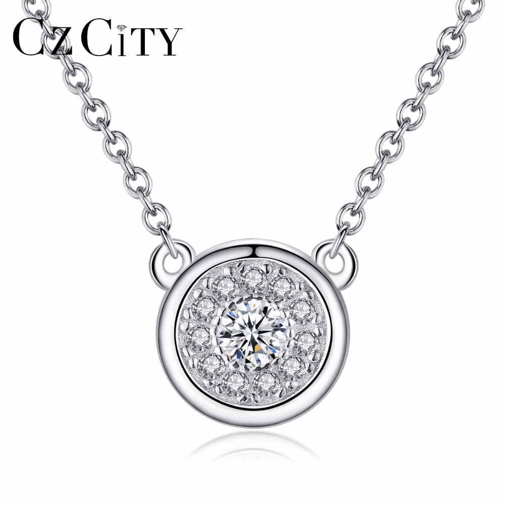 CZCITY Office Lady Genuine 925 Sterling Silver Chain Necklace AAA+ CZ Cubic Zirconia Round Pendant Necklace Party Fine Jewelry bff infinity necklace 925 sterling silver aaa cubic zirconia cyrstal necklace always best friend sister forever gift p6093b