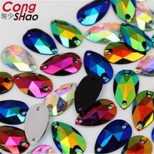Cong Shao 100Pcs 10*18mm Drop shape black Crystals AB Rhinestone Flatback sewing 2 Hole Stones Resin For DIY Wedding Dress WC765