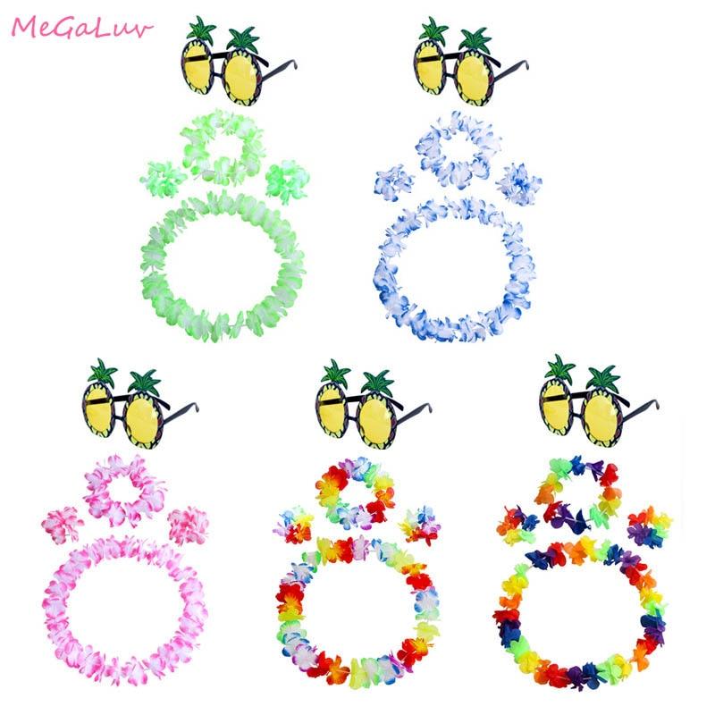 5pcs Hawaiian Party Decor Set Pineapple Sunglasses Tropical Necklace Bracelet Headband Fancy Dress Costumes Flowers Garland