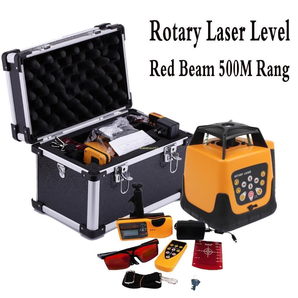 Láser rojo automático de nivel de haz rojo, láser giratorio de 500m con control remoto, láser rotativo de construcción
