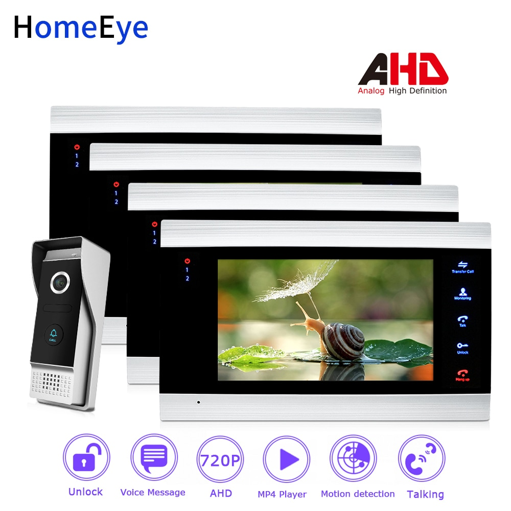 HomeEye 720P AHD Video Door Phone Video Intercom Home Access Control System 1-4 Motion Detection Security Alarm DoorBell Speaker