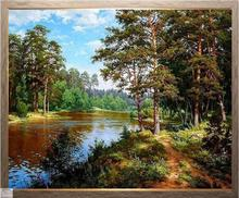 Kit de points de croix artisanat 14CT   Ensemble de peinture à lhuile DMC brodée et en forêt fluviale, décoration murale pour la maison 3