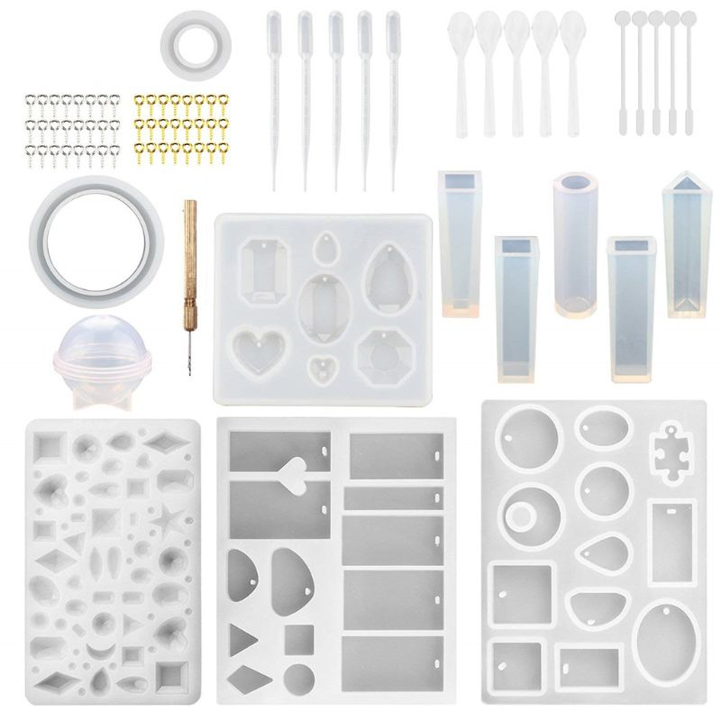 1 Juego de silicona molde resina epoxi herramientas hecho a mano artesanías para hacer joyería de cristal broche Pin varilla para mezclar Accesorios