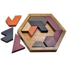 Quebra-cabeça hexangular jigsaw de madeira jig sawtetris jogo para crianças mini puzle madeira de borracha diy pazzle tijolos cérebro puzzel brinquedos