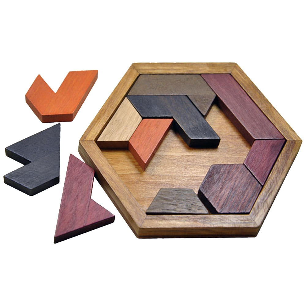 Rompecabezas Hexangular rompecabezas de madera juego SawTetris para niños Mini Puzle goma madera DIY Pazzle ladrillos rompecabezas del cerebro Juguetes
