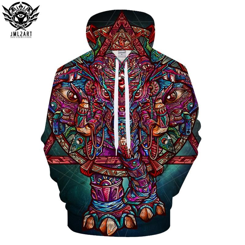 Color Elephant By jml2 Arts 3D Print Hoodies Men Women Anime Sweatshirts Hooded Tracksuit Brand Pullover Unisex Jackets Coat Dro