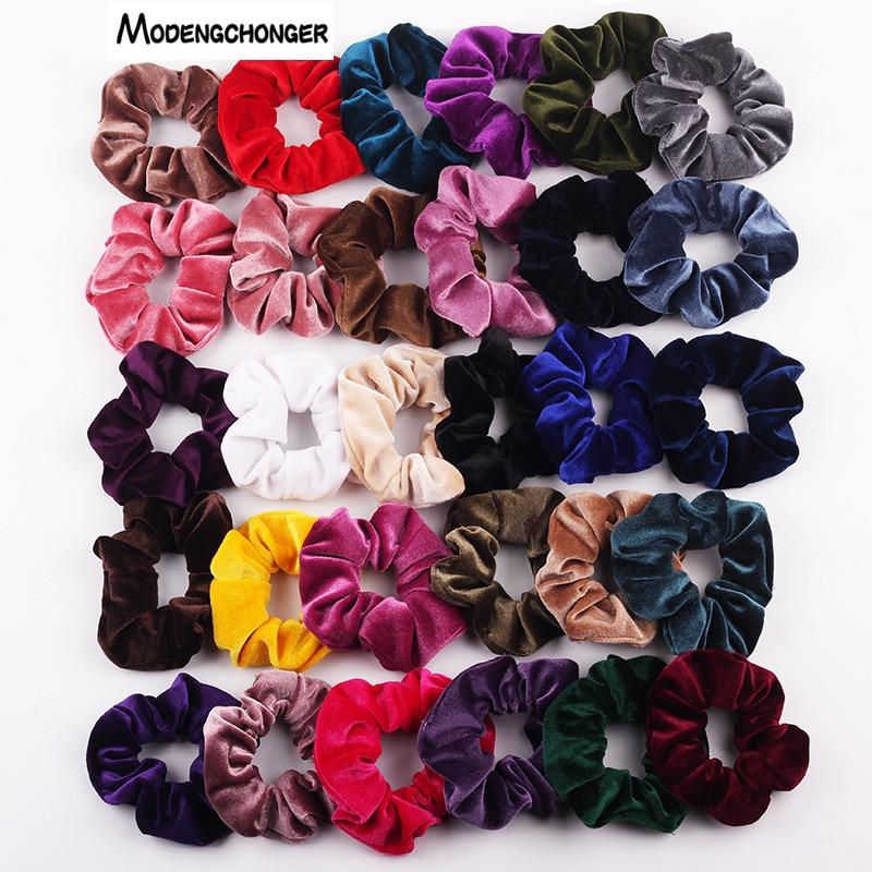 Velvet scrunchie თმის სამაგრები ქალისა და გოგონებისთვის, თმის ელასტიური რეზინის ზოლები, თმის აქსესუარები, ღრძილების თმის ჰალსტუხის საბაგირო, ცხენის კუდი