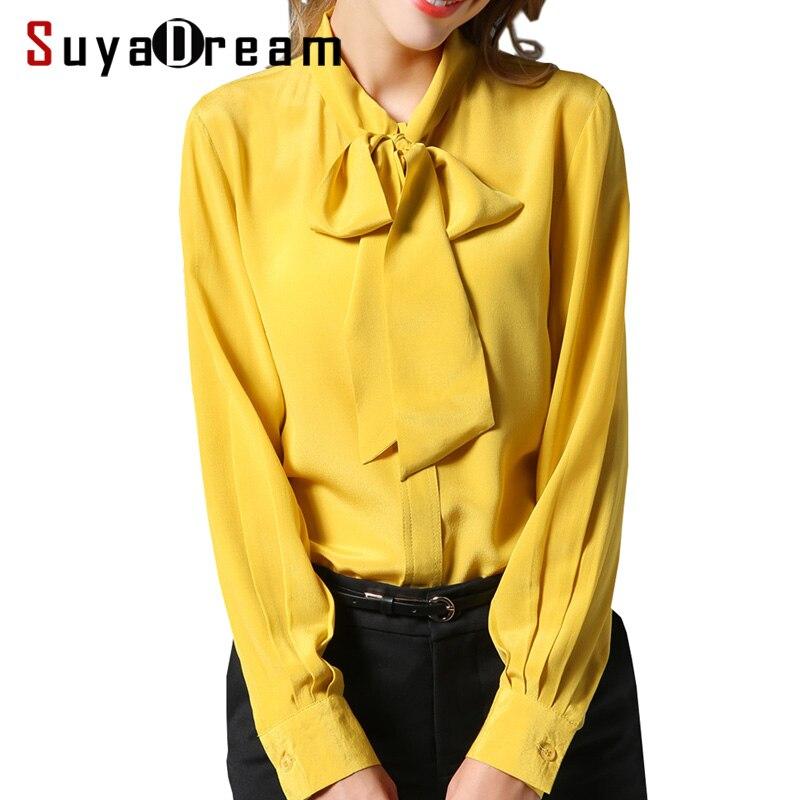 Women SILK SHIRT 100%Natural silk Bow Collar Long sleeved casual Shirt 2018 Fall Winter New Office Lady Top shirt Red Ginger