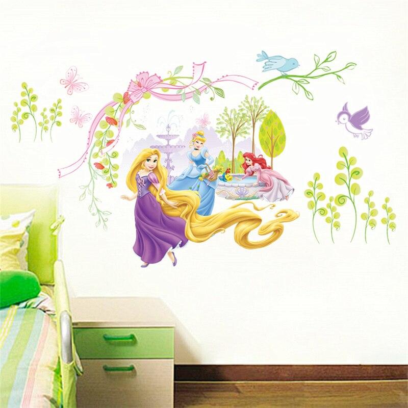 Dibujos Animados Rapunzel Ariel Cinderalle princesa pegatinas de pared para niñas habitación decoración del hogar Pvc póster niños pared arte calcomanías