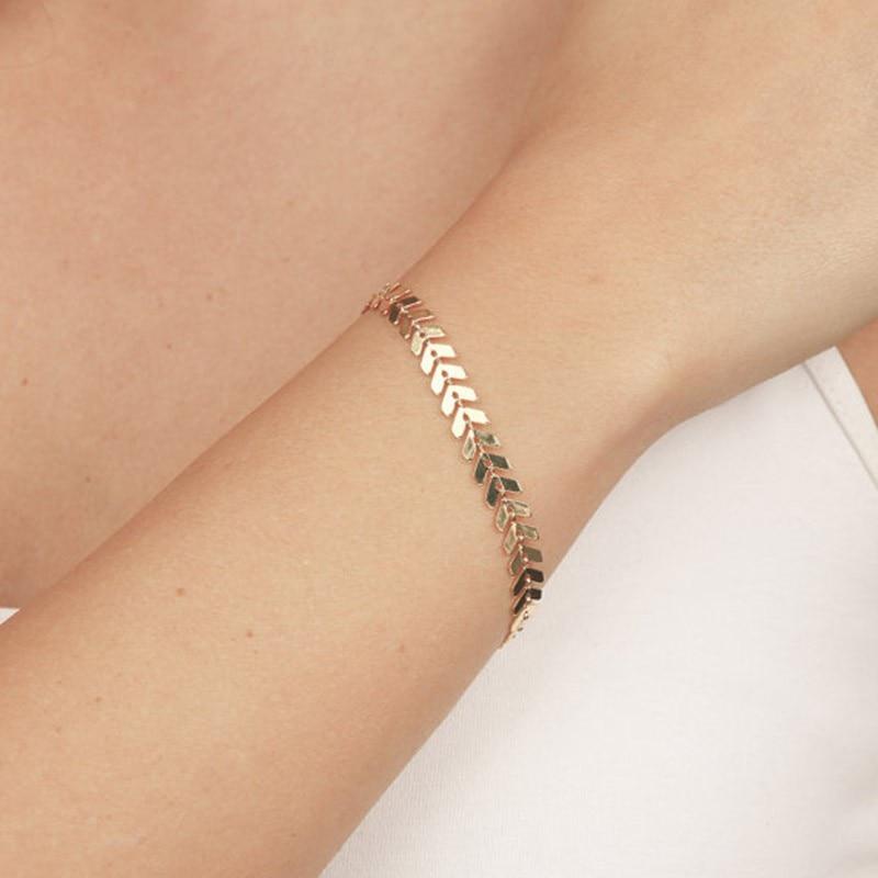 Simple Punk Arrow Sequins Bracelets Bangles Snake Bone Aircraft Chain Bracelet Bangle Jewelry For Women