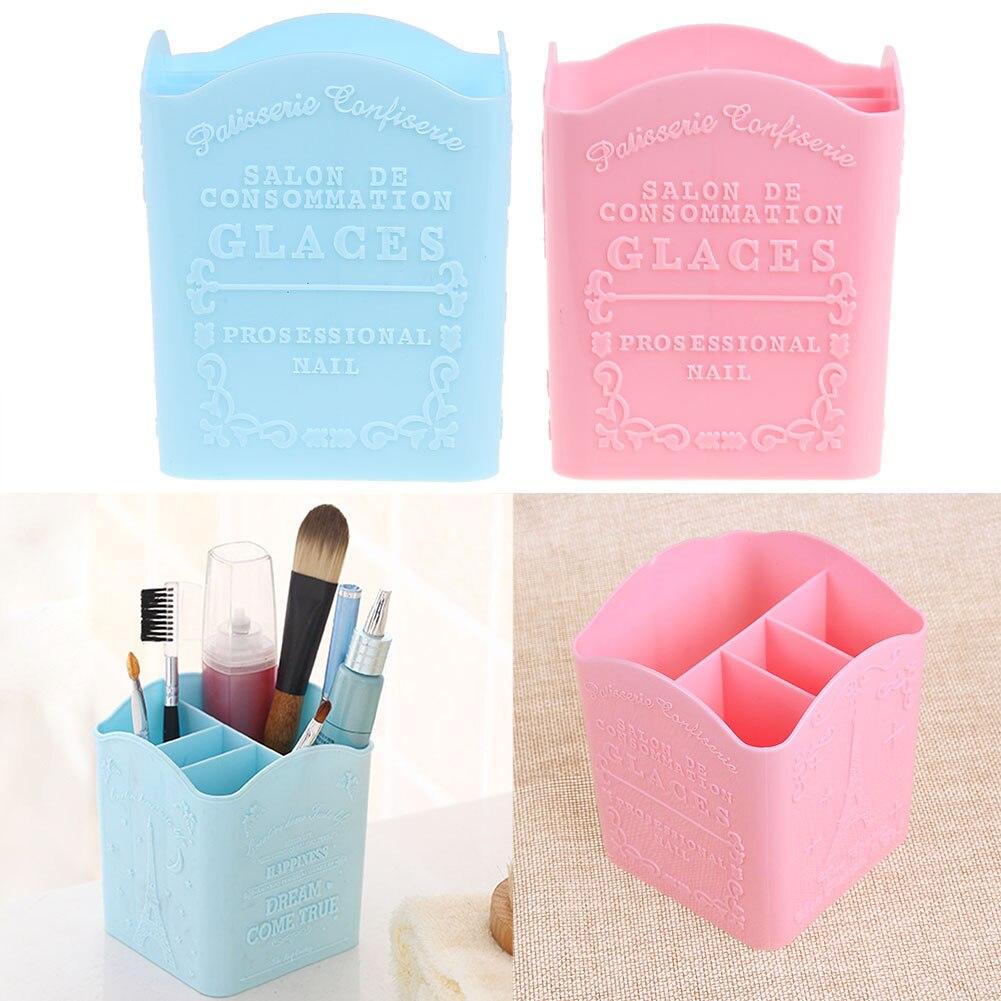 Caja de soporte para almacenamiento de 4 compartimentos para Nail Art, pinceles de maquillaje, bolígrafos, herramientas, contenedor, organizador de escritorio, caja organizadora