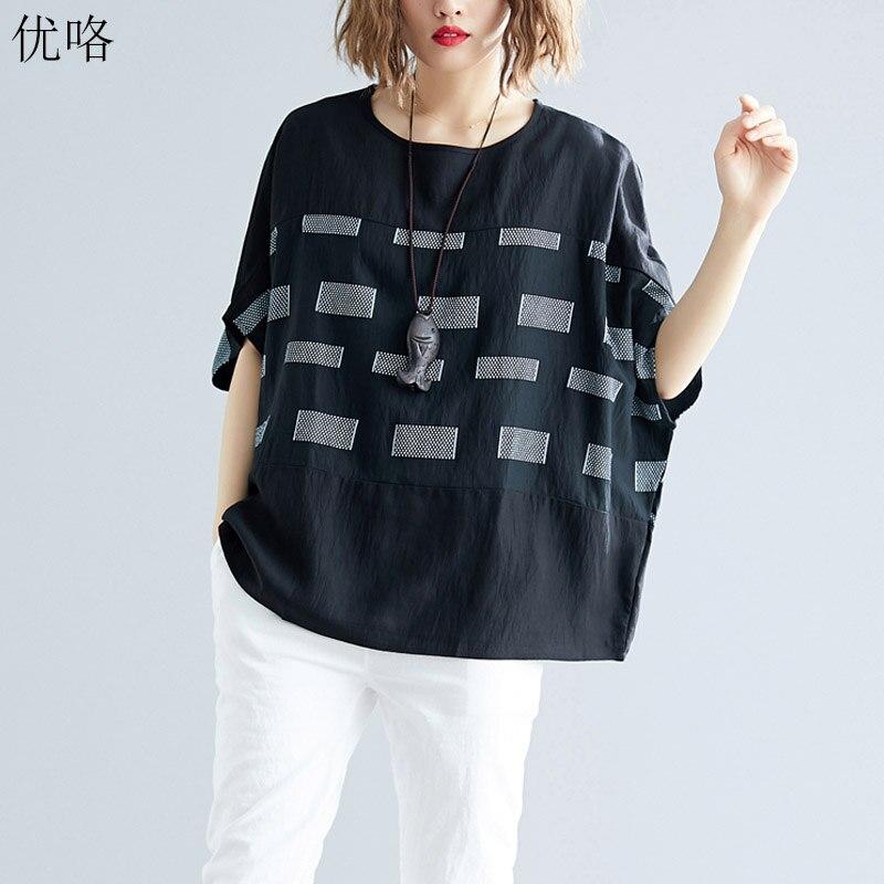 Женская футболка из хлопка и льна размера плюс 4XL 5XL 6XL, летняя футболка в клетку с принтом «летучая мышь», Повседневная Свободная футболка большого размера, 2019