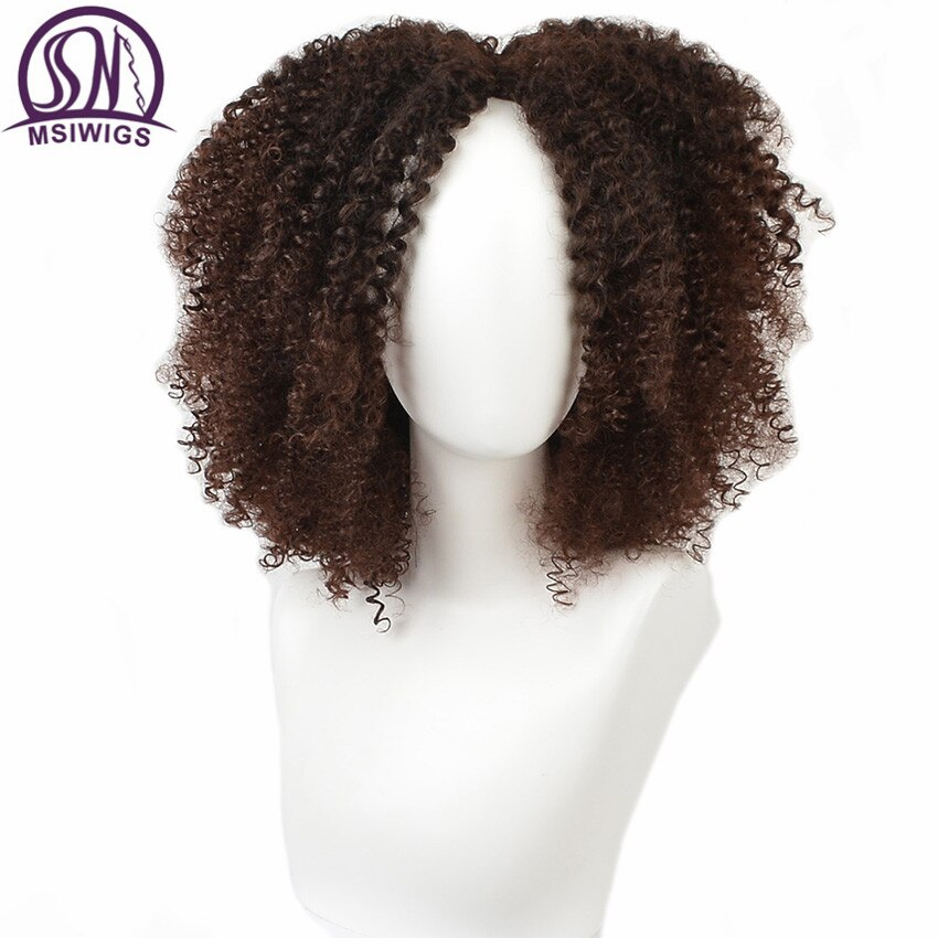 MSIWIGS коричневый синтетический Kinkly вьющиеся парики для женщин 4 цвета Омбре блонд короткий афро парик афро-американский черный средняя часть...