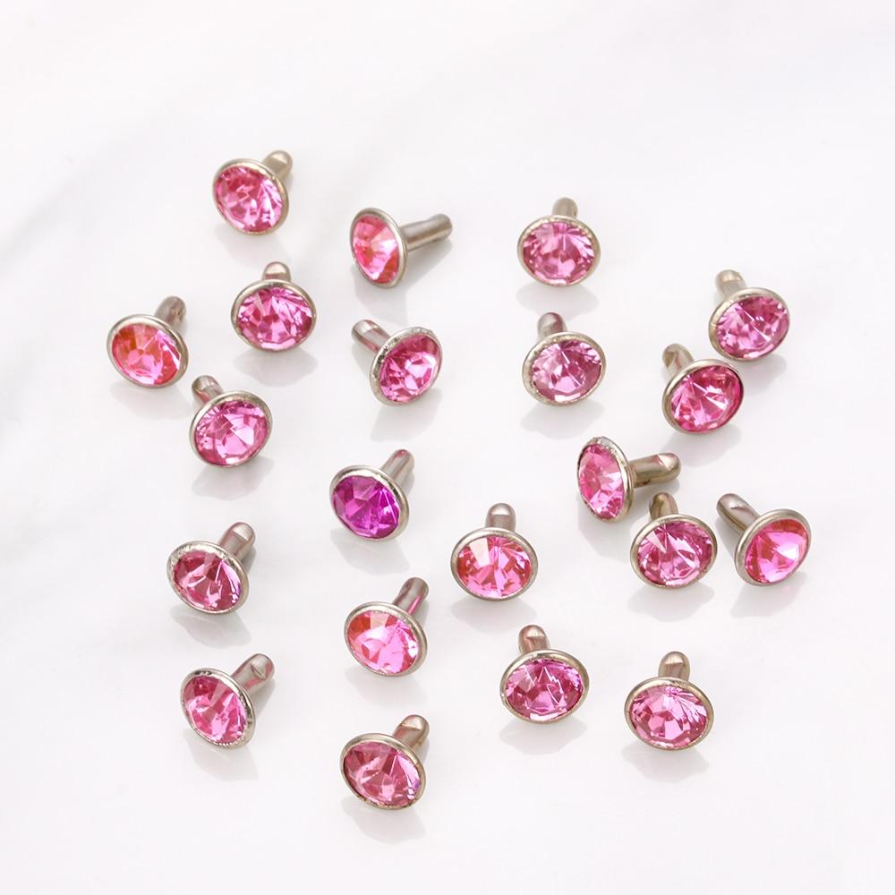 20sets (40 uds) remaches de costura de diamantes de imitación Multicolor para prendas de vestir, taladro de vidrio, tecla de clavo, bolsa de ropa, zapatos, adornos para manualidades, suministros