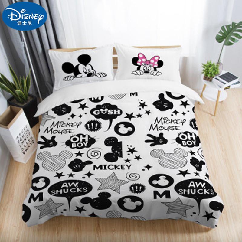 Бесплатная доставка, комплекты постельного белья для взрослых с 3D принтом Микки и Минни Маус, набор постельного белья для взрослых