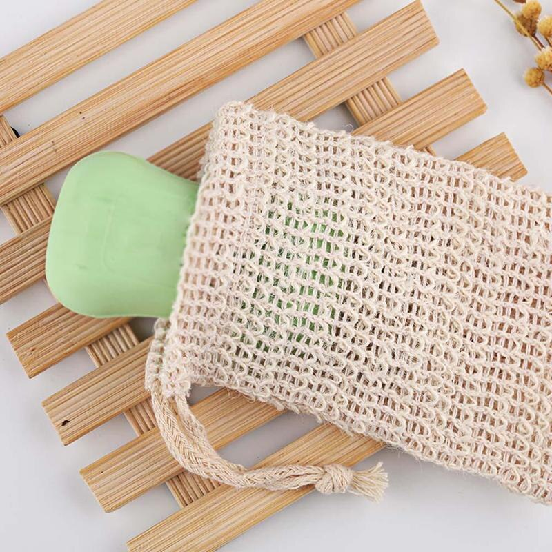 Hot 1 PC Natural Exfoliating Soap Bags Handmade Sisal Soap Bags Natural Sisal Soap Saver Pouch Holder Bath Soap Holder