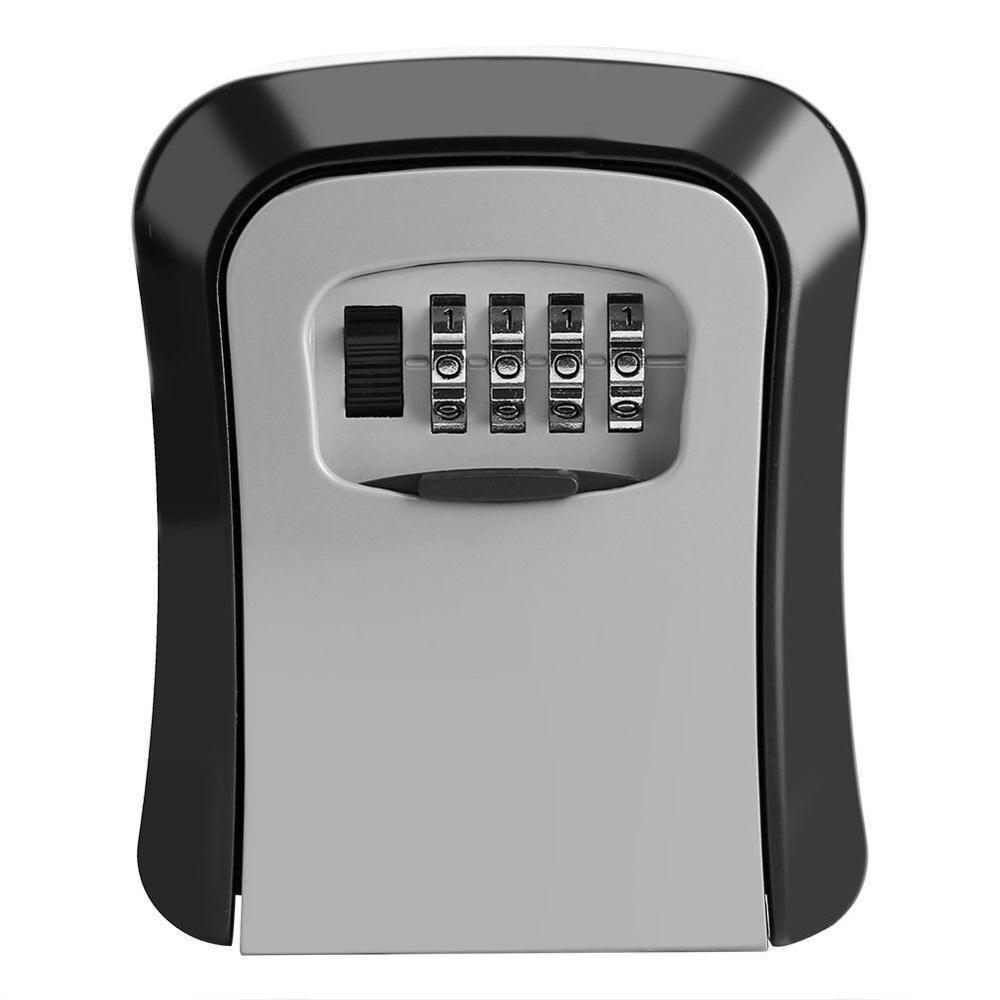 Caja de bloqueo de llave de combinación de 4 dígitos para montar en la pared caja de almacenamiento de seguridad secreta organizador de cerradura de puerta de aleación de aluminio para interior y exterior