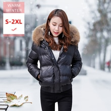Women Real Fur Collar White Duck Down Jacket Female Winter Thick Short Korean Puffer Coat Warm Windproof Portable Outwear Hooded