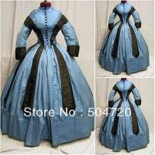 19 Century Blue Civil War Southern Belle Gown evening Dress/Victorian Lolita dresses/scarlett dress US6-26 V-297