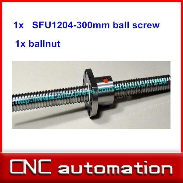 Tornillo de bola 1204 SFU1204 L = riel de tornillo de bola enrollado de 300mm con una tuerca de bola para piezas CNC