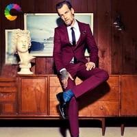 burgundy men suits wedding suit groom tuxedos tailored men suit with pants best man blazers jacket 2piece terno masculino