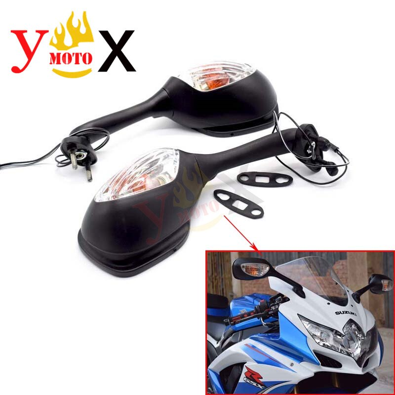 Espejo retrovisor para motocicleta con luz de señal de giro para Suzuki GSX-R1000 2005-2008 K5 K7 GSX-R600/750 2006-2010 K6 K8